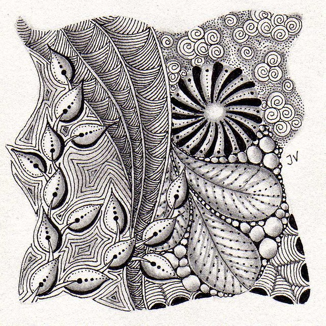 Zentangle tekening met sakura micron pen 01 jella flickr for Zentangle tile template