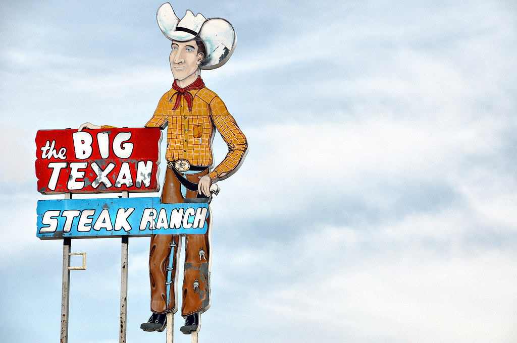 Big Texan Steak Ranch Restaurant Amarillo Texas Sign Tall