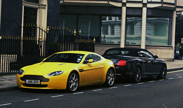 Yellow Aston Martin V8 Vantage And Bentley Continental Gtc Flickr
