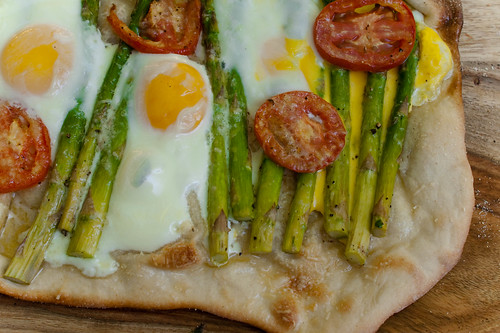 Pizza with Asparagus, Eggs, and Tomato | by caroline.angelo