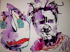 Julia Kay & sculpture portrait for her portrait party 19/04/10 by Sue Hodnett