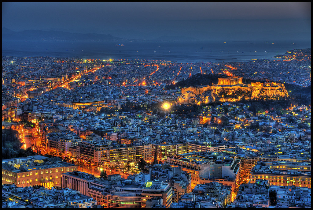 View from Mount Lycabettus  Tonemapped image of the city ...