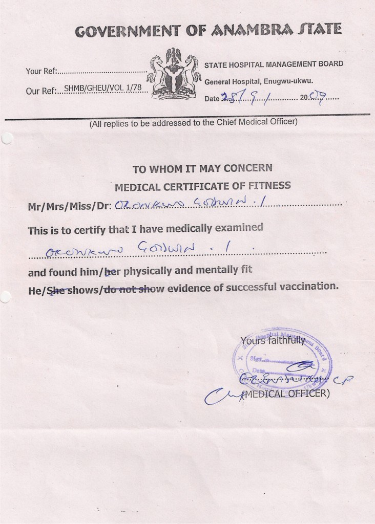 Medical Certificate Of Fitness  Godwin Okonkwo  Flickr
