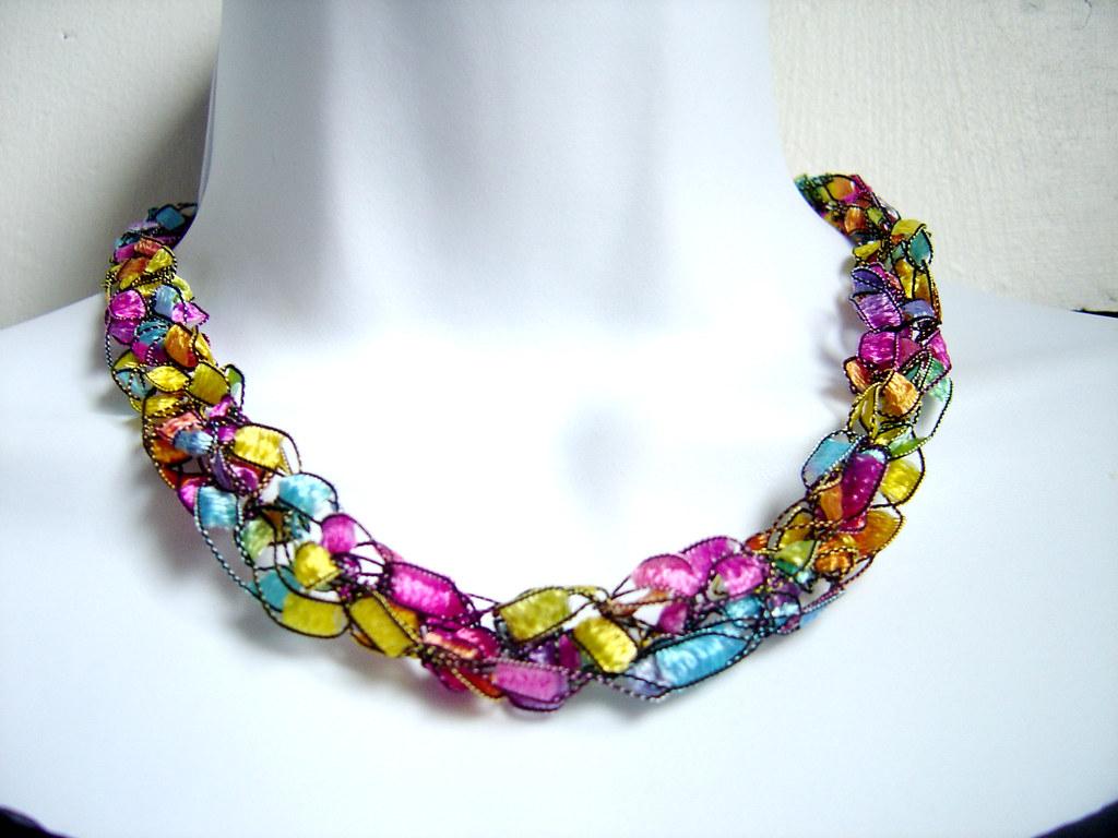 Free Crochet Patterns Using Ribbon Yarn : Pastel Rainbow Crochet Ribbon Yarn Necklace This ...