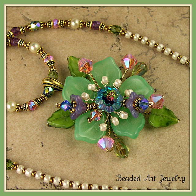 Flower Necklace Wire Wrapped Using Czech Pressed Beads Sw Flickr