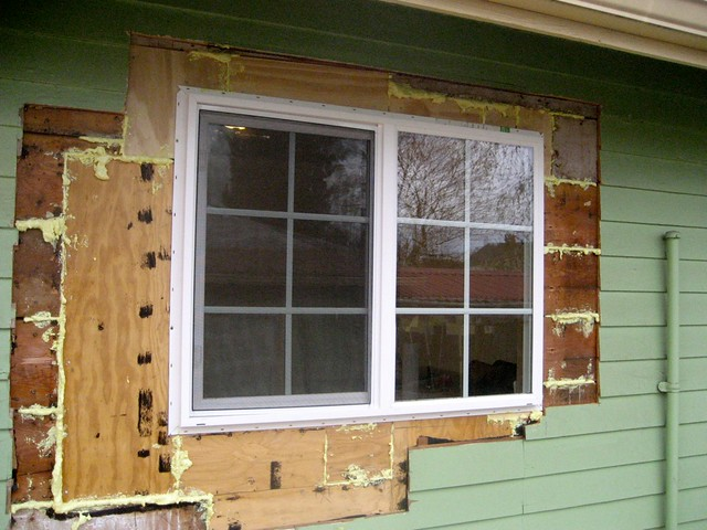 new window exterior with expandable foam insulation in
