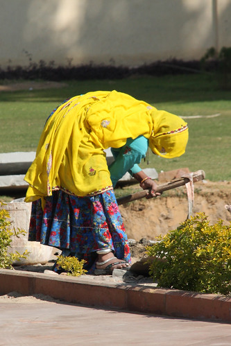 Working the garden in jaipur india both men and women for Gardening tools jaipur