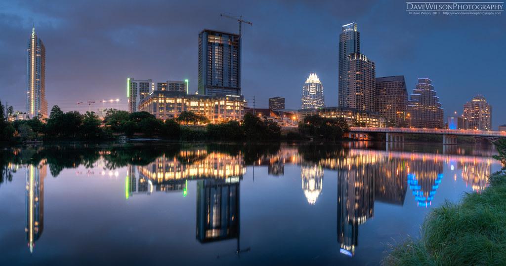Downtown Austin Skyline At Dusk The Skyline Of The City