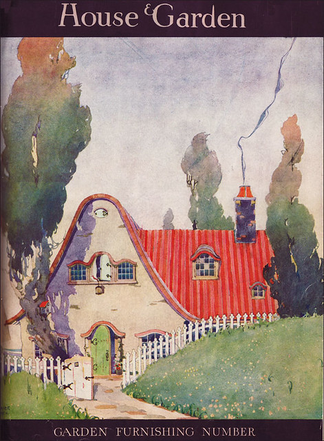 1919 cottage with a corrugated red roof the illustrator Home and cottage magazine