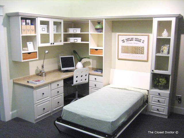Home Office W Murphy Bed W Cabinet Color White Twin