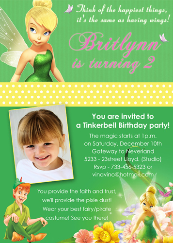 Tinkerbell Disney Fairy- Custom Birthday Invitation | Flickr