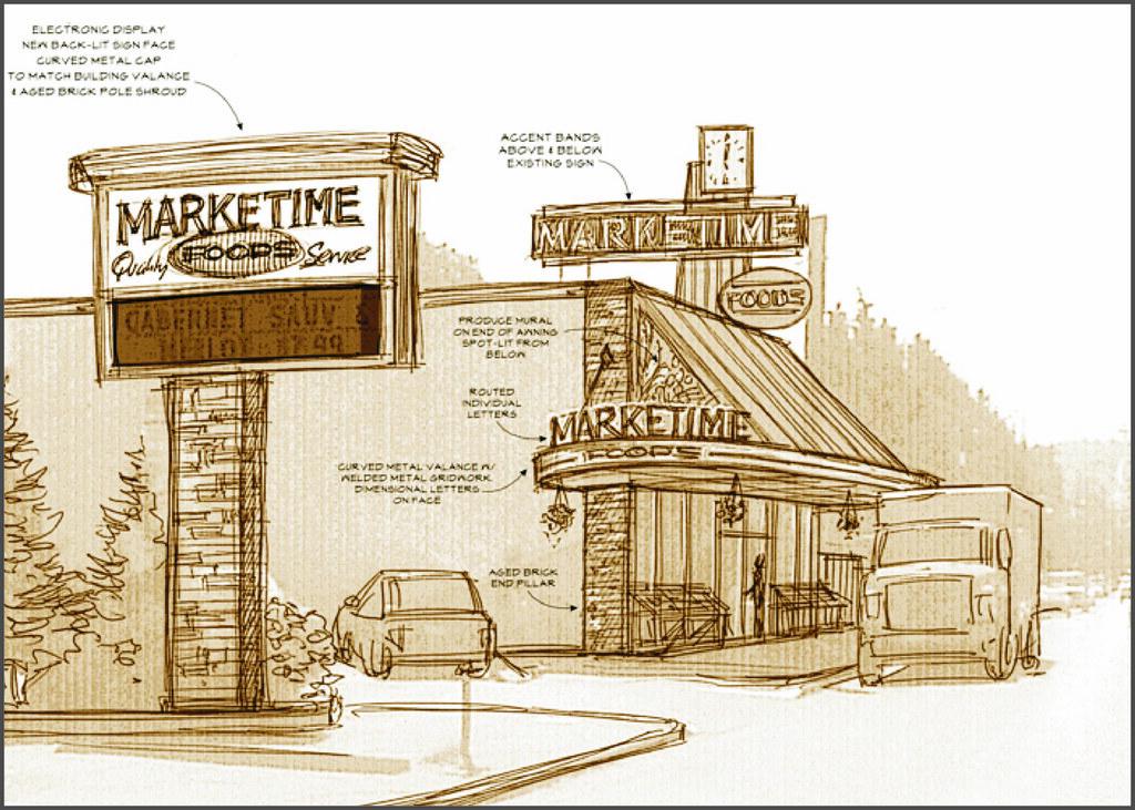 Exterior grocery design market design sketch market de for Exterior design for shops