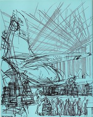 Bristol Britannia aircraft in maintenance hanger at London Heathrow Airport - illustration by Feliks Topolski - 1956