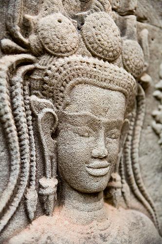 Apsara stone carving in angkor wat siem reap cambodia