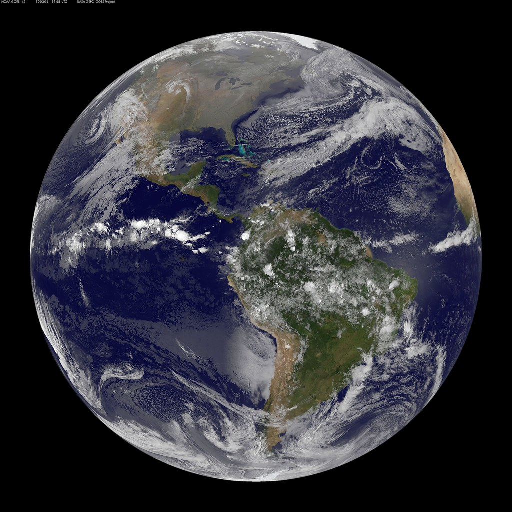Goes Full Disk View March 6 2010 Satellite Image
