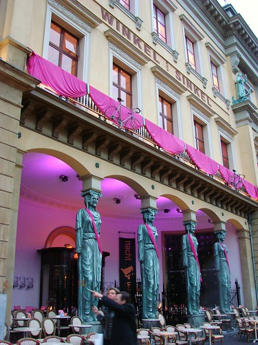 Winkel Van Sinkel and the caryatids decorated in pink for the giro d'italia cycling race taking place in utrecht netherlands