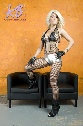 Supermodel Karina Bradley In Leather Shorts And Fishnet St