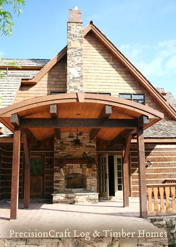 Covered Deck & Outdoor Fireplace | Hybrid Log & Timber Hom ...