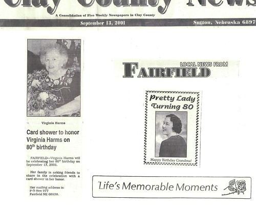 "newspaper clippings from Grandma Virginia ""Kewpie"" Harms' 80th birthday 