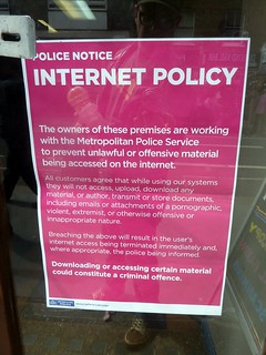 No porn or jihadis, sign, Internet Cafe, Leather Lane, Clerkenwell, London, UK | by gruntzooki