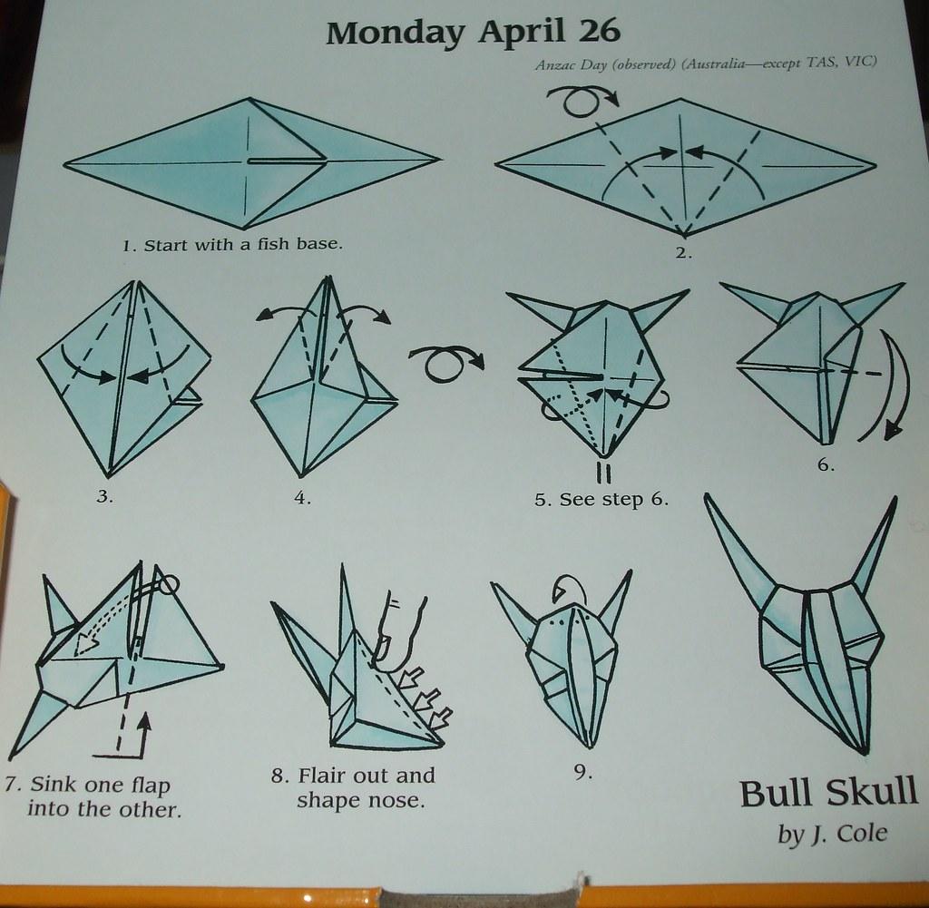 Skull Origami Diagrams Wiring Dialtone Generator Circuit Diagram Tradeoficcom Bull Instructions Jo Gemmell Flickr Rh Com Dolphin Template