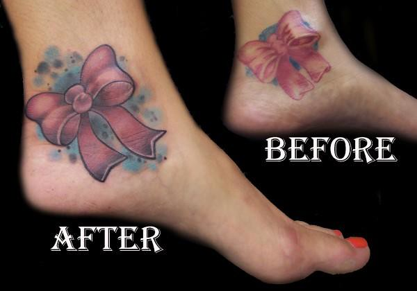 Bubba bow ankle tattoo nosurrenderstudios flickr for Bow tattoos on ankle