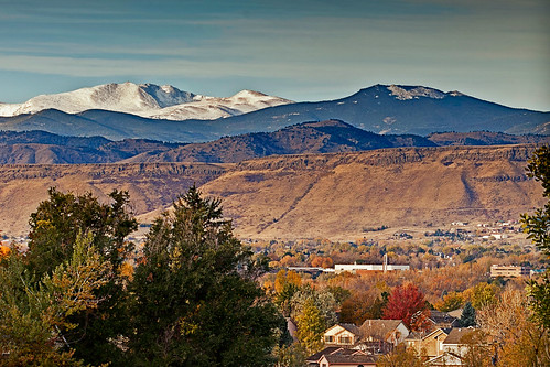 60 degrees in Arvada, snow on the mountains | by mhedstrom