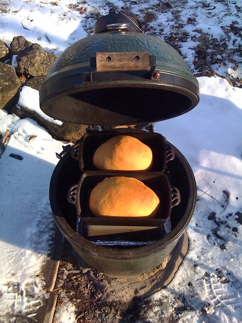 Baking Bread In Big Green Egg Ceramic Grill Outdoors 5