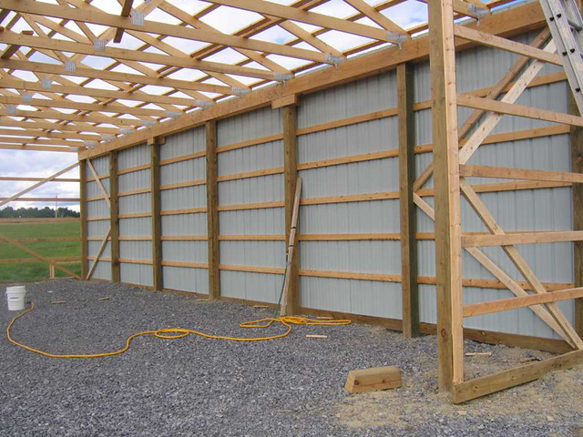 30x48x12 Diy Pole Barn The Eave Siding From The Interior