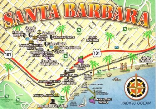 Santa Barbara California Map Postcard Erin Flickr