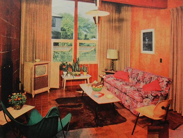 48s TV Room Patterned Couch Vintage Interior Design Phot Flickr New 1950S Interior Design