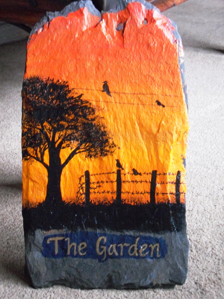 Acrylic slate painting for the garden a painting on - Painting rocks for garden what kind of paint ...