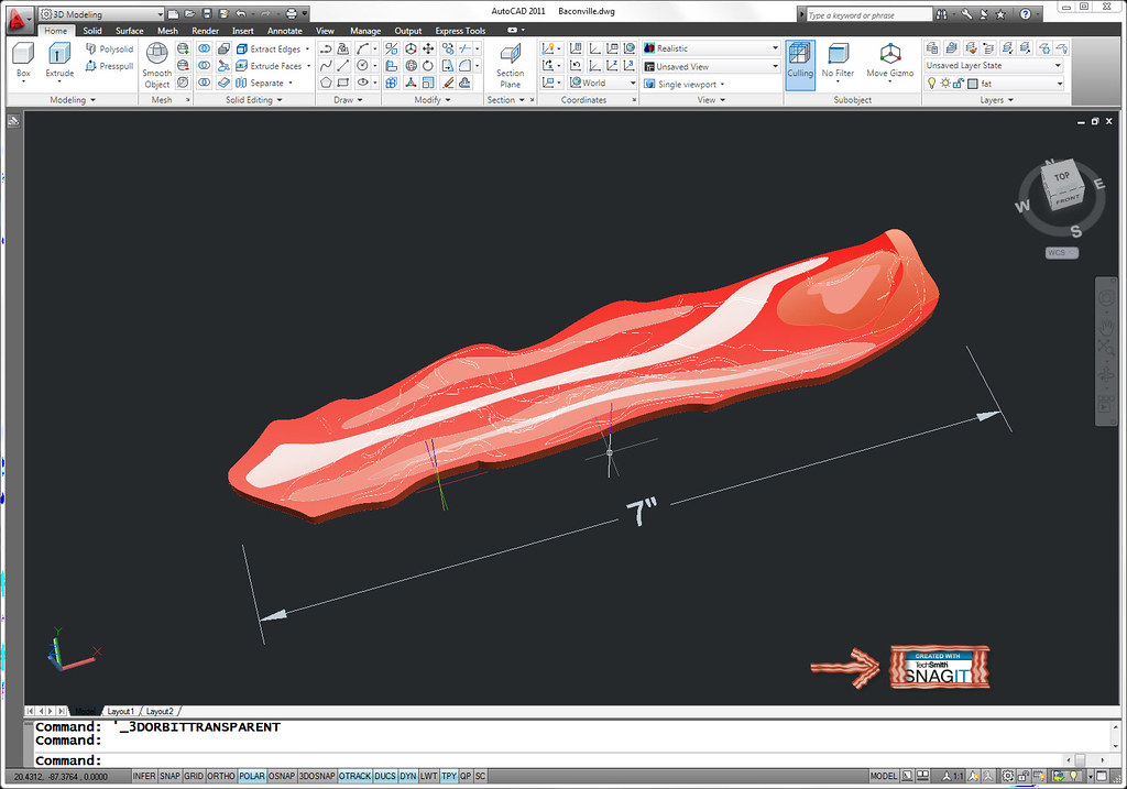 Autocad 3d Bacon A Quick Amp Fun Attempt At Modeling 3d