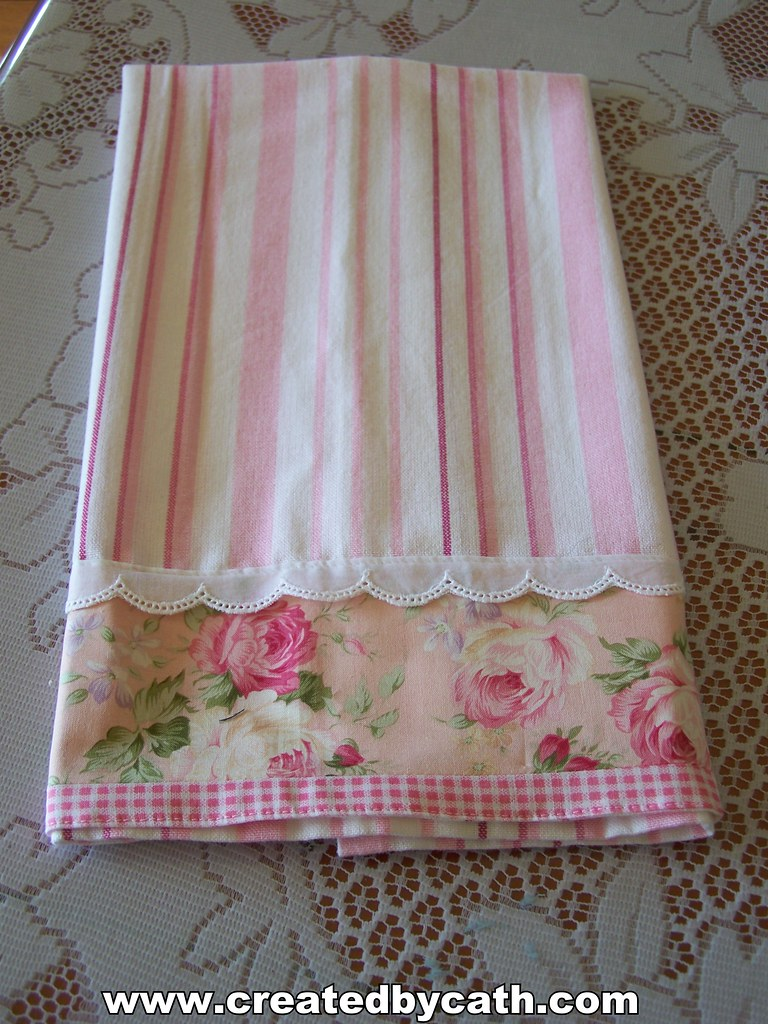 Pink And White Tea Towel A Decorative Dish Towel Very Rom Flickr