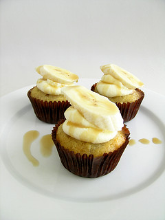 Banana Coconut Cupcakes With Creme Fraiche Frosting and Coconut Caramel Sauce | by jamieanne