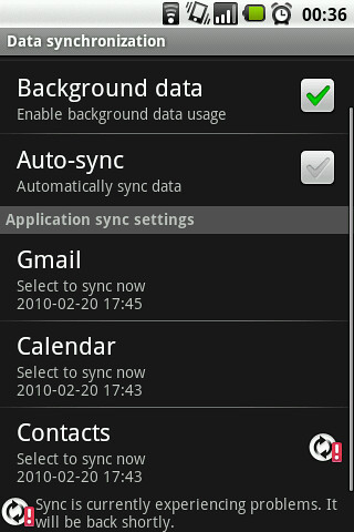Google sync is currently experiencing problems it will be ...