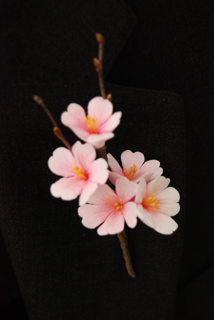 Cherry Blossoms Clay Flower Boutonniere | Cherry blossoms ...