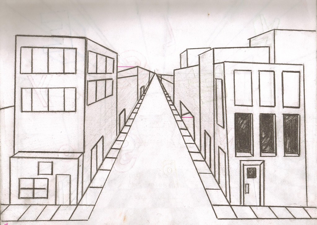 City Of Nothing | just a simple city in one point ...Easy One Point Perspective Drawing