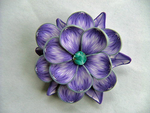 Purple Flower Pendant | by polymerclaycreations