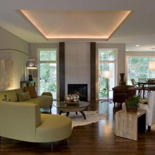22 Cool Living Room Lighting Ideas And Ceiling Lights: Illuminated-floating Ceiling