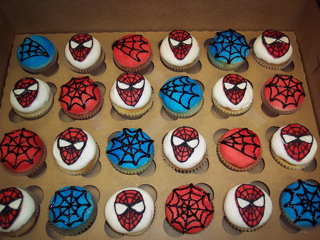 Spiderman Birthday Cupcake Cake