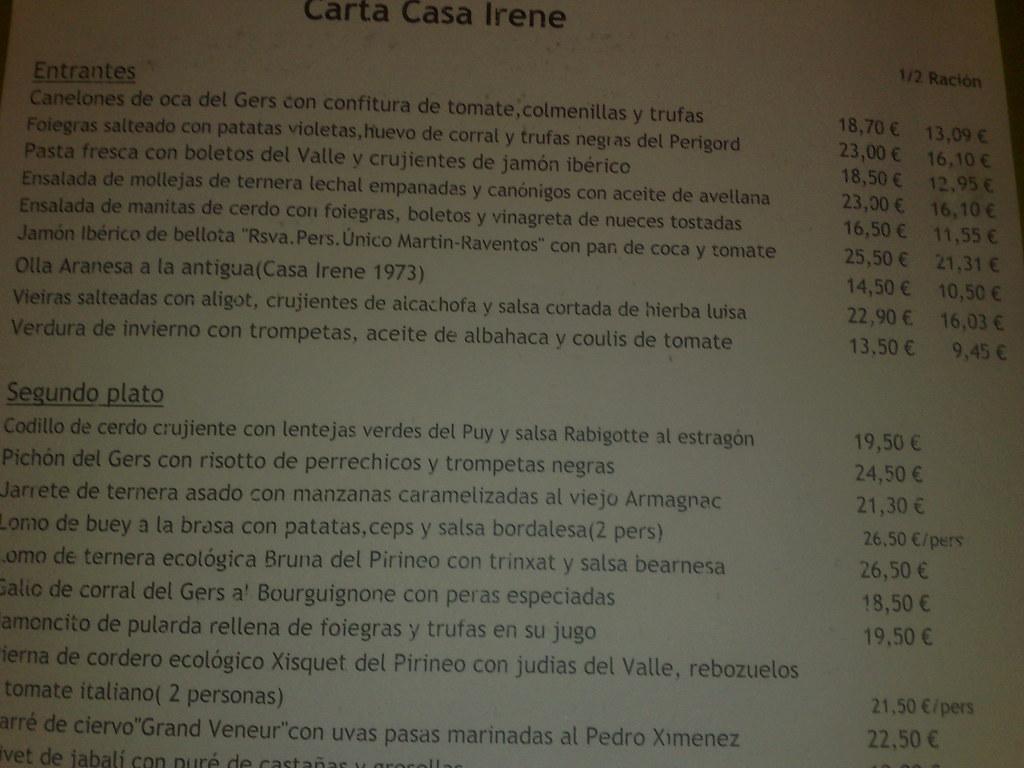 Restaurante Casa Irene - Arties - Baqueira Beret | Carta de ...