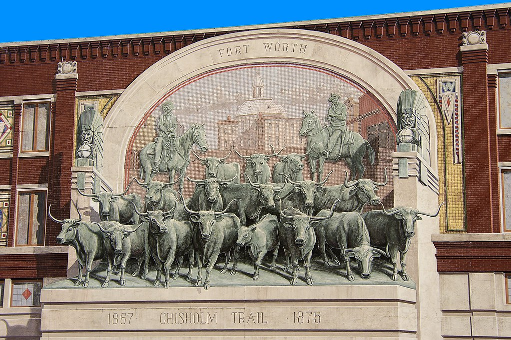 Fort worth chisholm trail mural located in downtown fort for Mural history