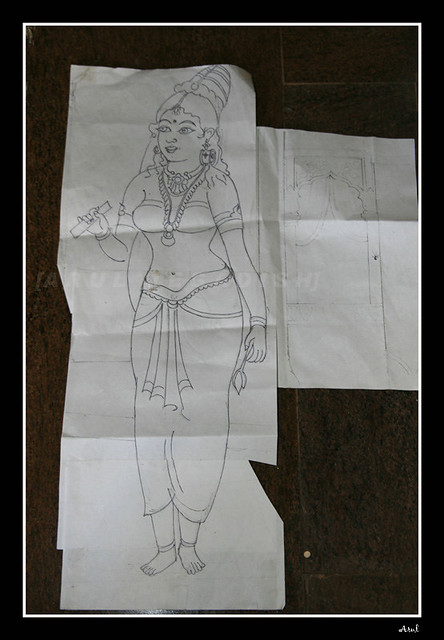 tanjore painting initial sketch the initial sketch which flickr