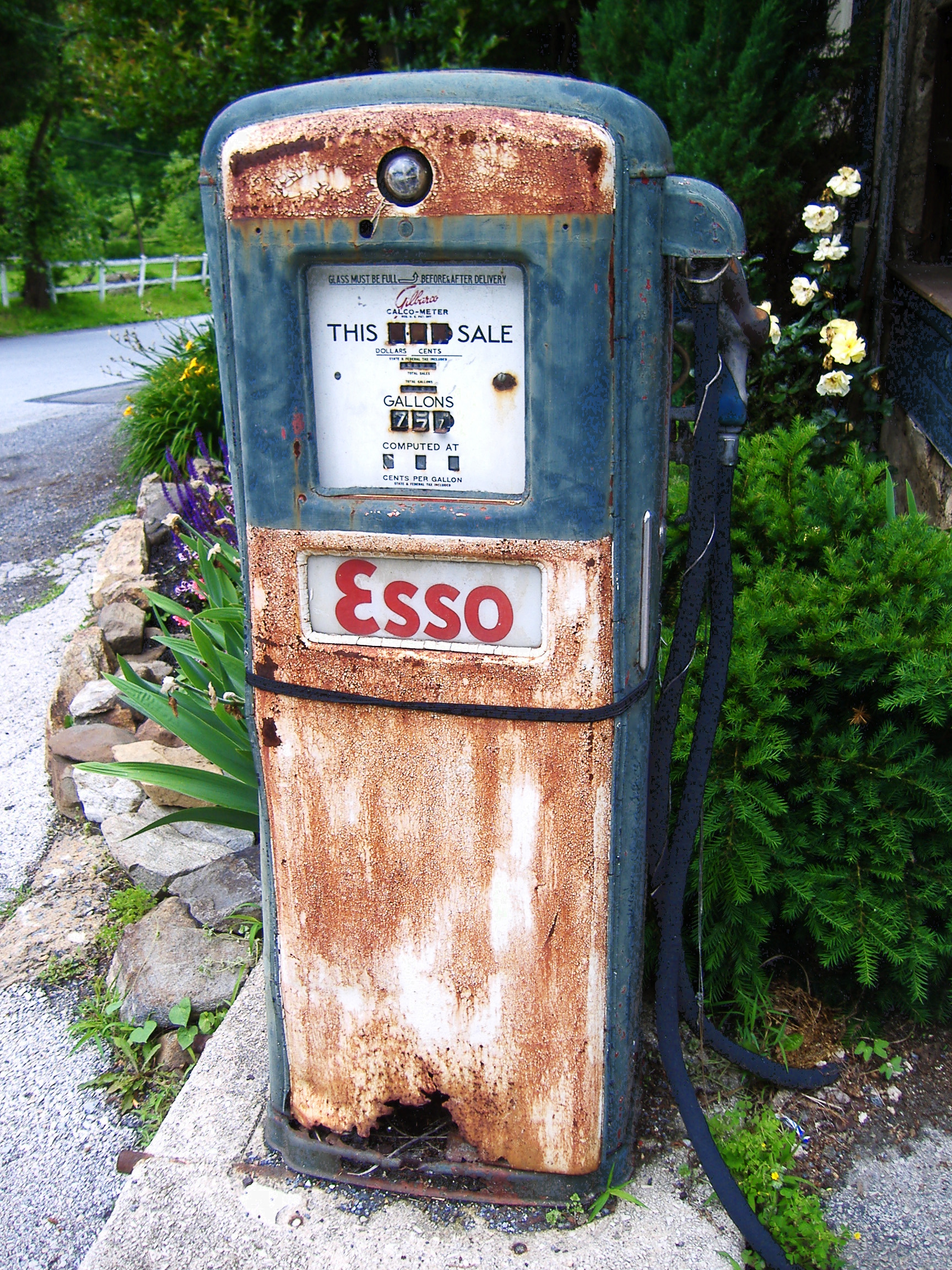 Esso gasoline pump - Birchrunville Store Cafe - 1403 Hollow Road, Birchrunville, Pennsylvania U.S.A. - May 28, 2010