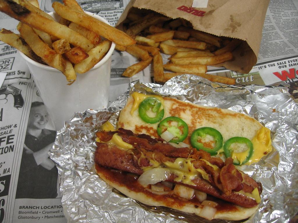five guys bacon cheese dog