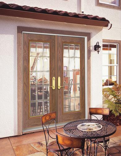 Feather river door fiberglass patio doors medium oak fre - Exterior french doors home depot ...