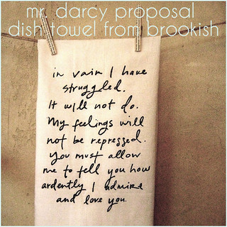 mr. darcy proposal dish towel from brookish | by little miss spy