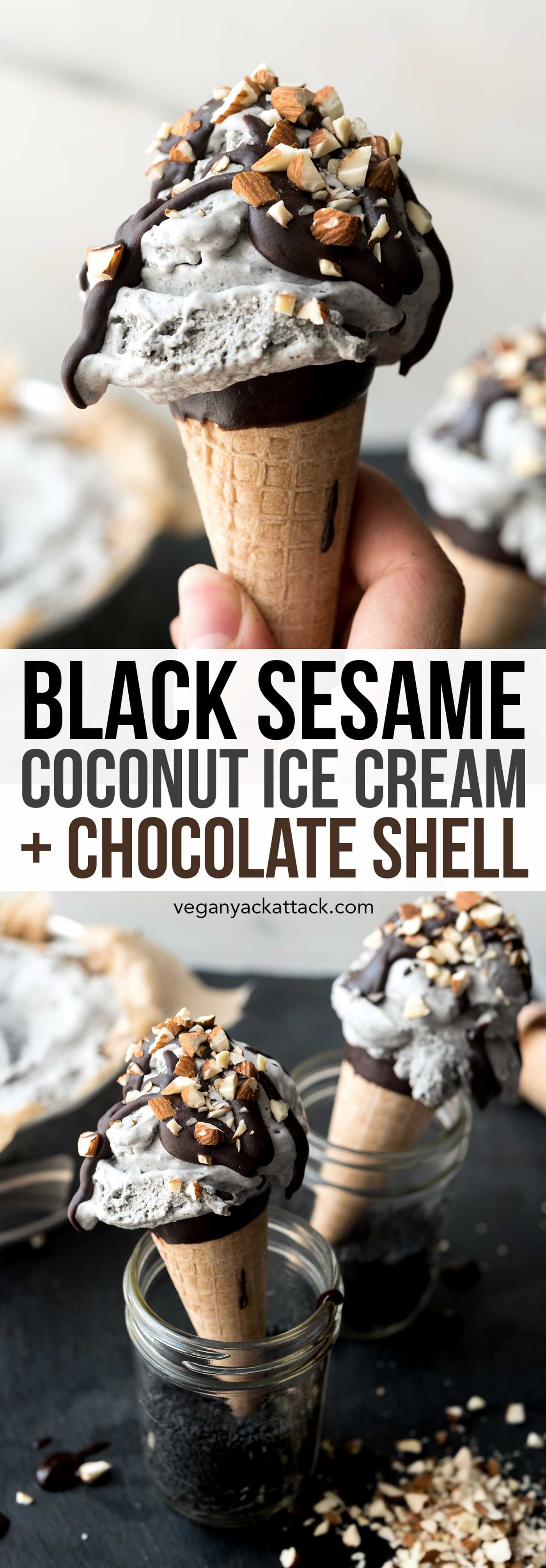 Black Sesame Coconut Ice Cream! Dairy-free, fluffy and oh-so-perfect for cooling off this summer. #vegan #glutenfree #soyfree #veganyackattack