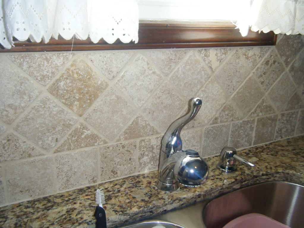 santa cecilia granite countertops with tile backsplash in flickr